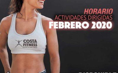 HORARIO ACTIVIDADES DIRIGIDAS FEBRERO 2020